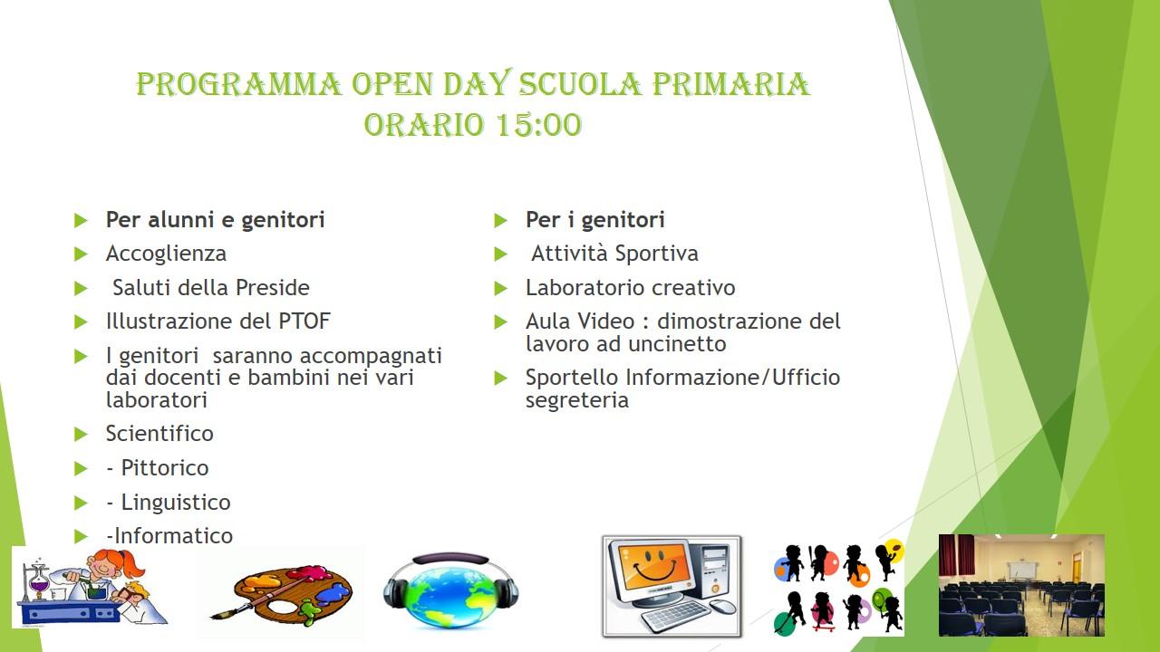 Programma Open Day Scuola Primaria